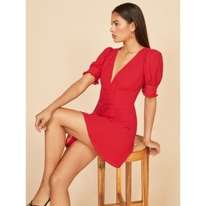 NWT REFORMATION   8 STEPH DRESS RUFFLE CHERRY RED